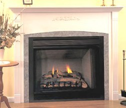 Comfort Glow direct vent gas burning fireplaces with dancing yellow flames and ember materials. Requires no electricity to operate.