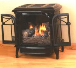 Comfort Glow cast iron stoves combine the beauty of a woodburning stove with the efficiency of vent free or direct vent gas space heating.