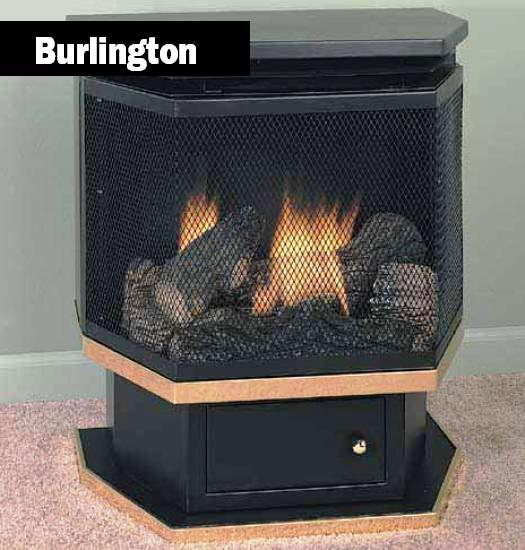Comfort Glow vent free gas pedestal stove and gas fireplace system.