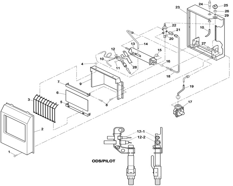 Wall Furnace Wiring Diagram further Honeywell S8610u Wiring Diagram further Majestic 33isdg Vent Free Fireplace System Parts C 188673 188674 188677 furthermore Gas Fireplace Replacement Parts likewise Safety Heaters And Blowers. on natural gas fireplace wiring diagram